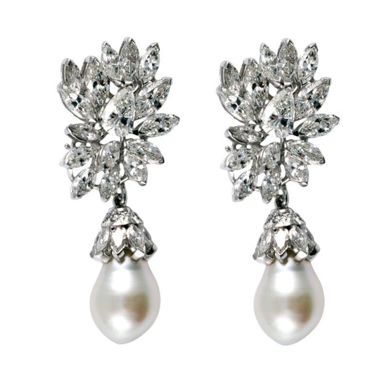Diamond & South Sea Pearl Platinum Earrings 1