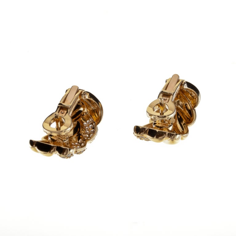 Women's CARTIER Diamond & Yellow Gold Earrings For Sale