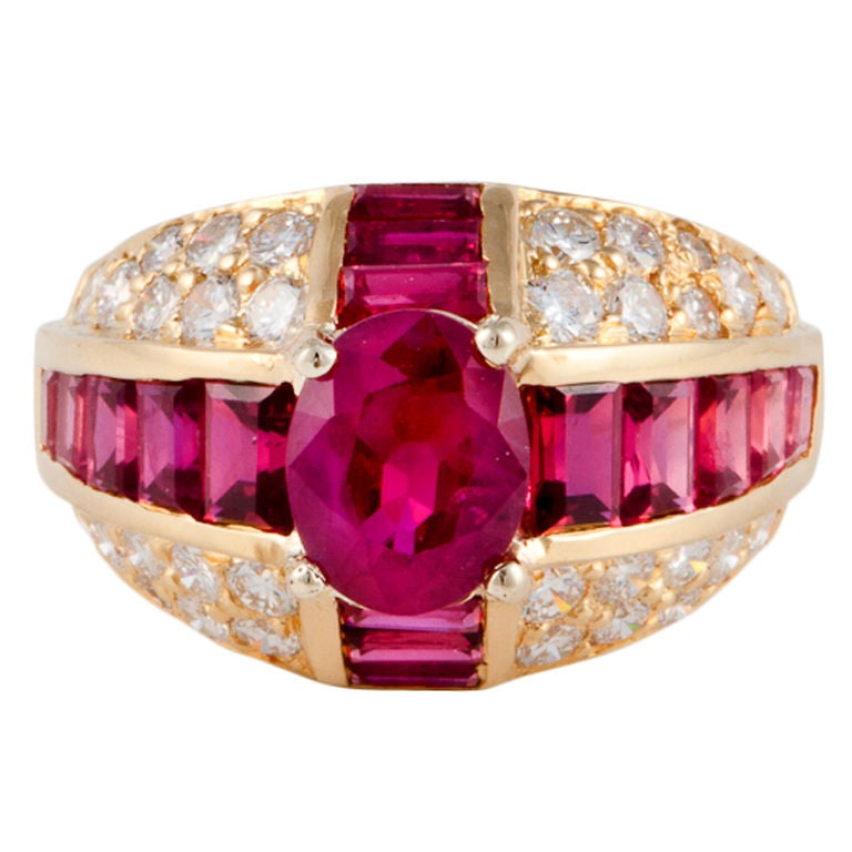 OSCAR HEYMAN Ruby Diamond Yellow Gold Ring