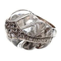 DAVID WEBB Rock Crystal & Diamond Cocktail Ring