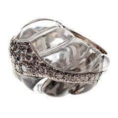 David Webb Rock Crystal and Diamond Ring