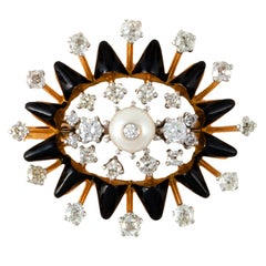 BIRKS 18K Gold Black Enamel Pearl and Diamond Gold Pin / Pendant
