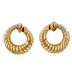 Van Cleef & Arpels 18K Gold Hoop Earrings with Diamonds