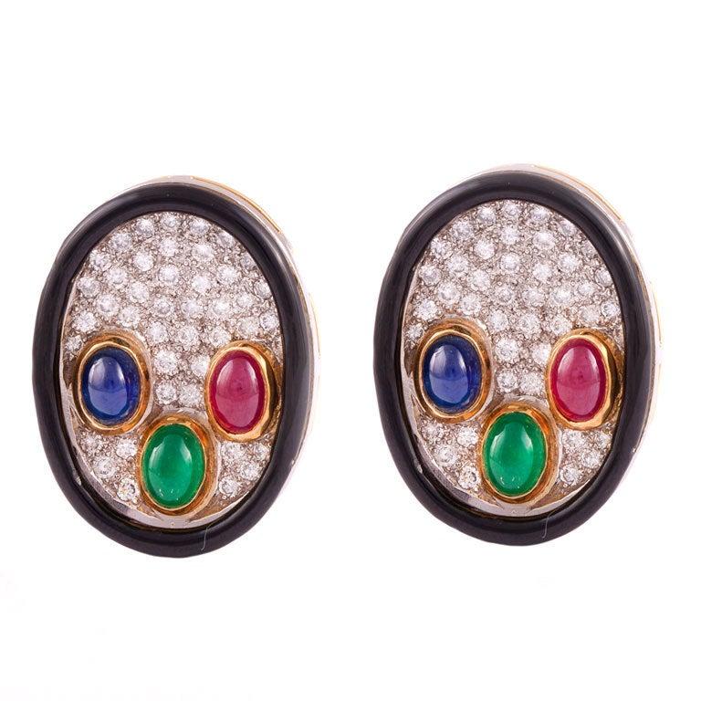 Enamel Colored Stone Diamond Gold Platinum Earrings