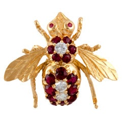 Ruby Diamond Bee Pin