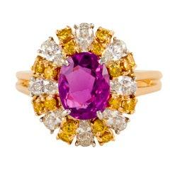 OSCAR HEYMAN Sapphire Diamond Ring