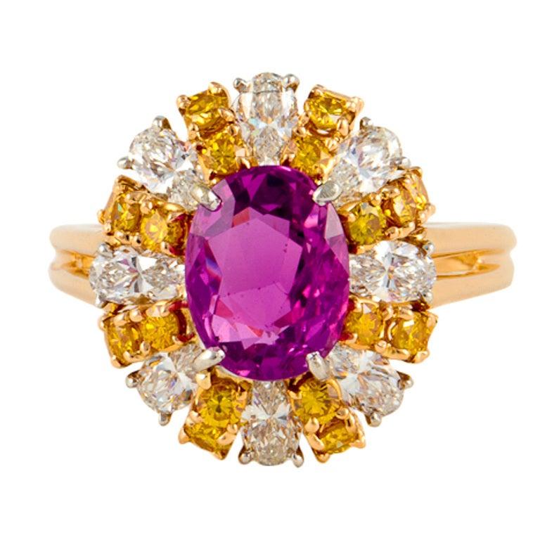 OSCAR HEYMAN Bros. Pink Sapphire and Diamond Ring in 18K Gold
