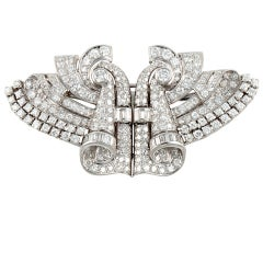 Art Deco Platinum & Diamond Clips / Pin