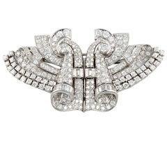 Art Deco Platinum Diamond Dress Clips/Brooch