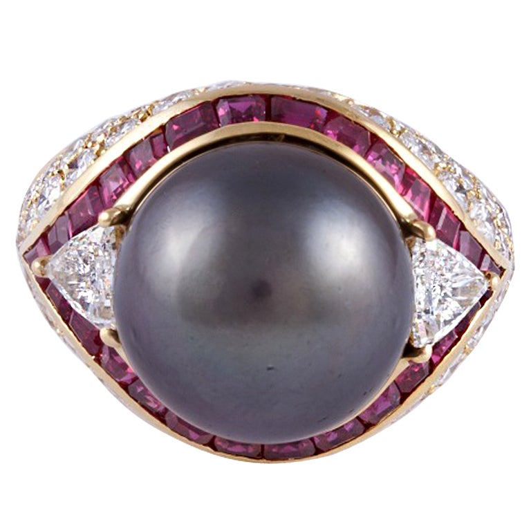 18K Yellow Gold Cultured Tahitian Pearl Diamond and Ruby Ring