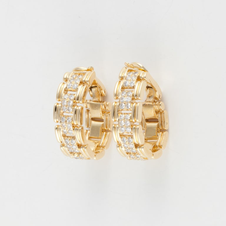 O.J. PERRIN Yellow Gold & Diamond Hoop Earrings 2