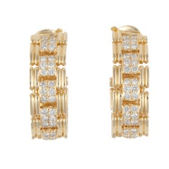 O.J. PERRIN Yellow Gold & Diamond Hoop Earrings