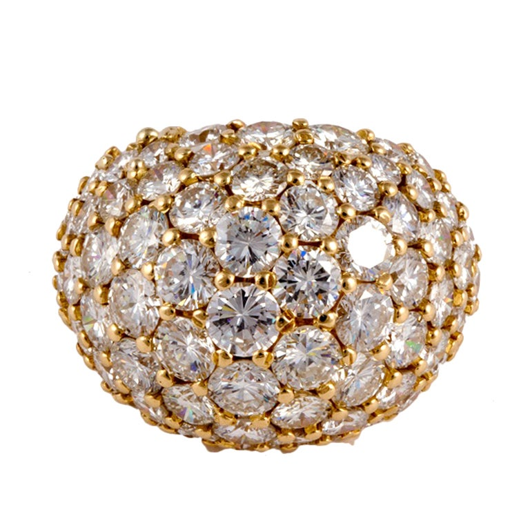 Diamond Pave Yellow Gold Dome Ring