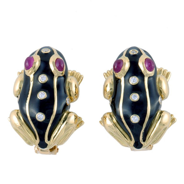 DAVID WEBB Gold, Enamel, Diamond, & Ruby Frog Ear Clips 1
