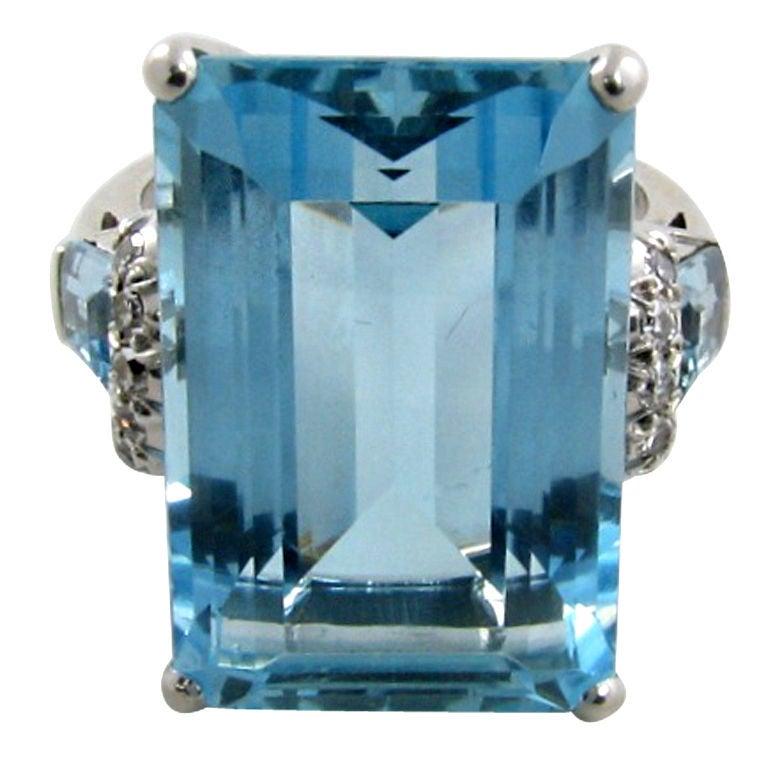 a fabulous emerald cut aquamarine and ring at 1stdibs
