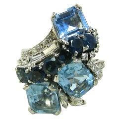 YARD fabulous platinum, aquamarine, sapphire and diamond ring.