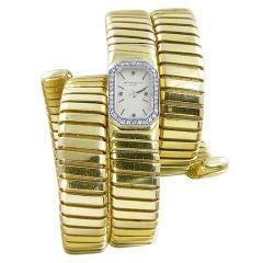 BULGARI Gold and Diamond Tubogas Ladies Wristwatch