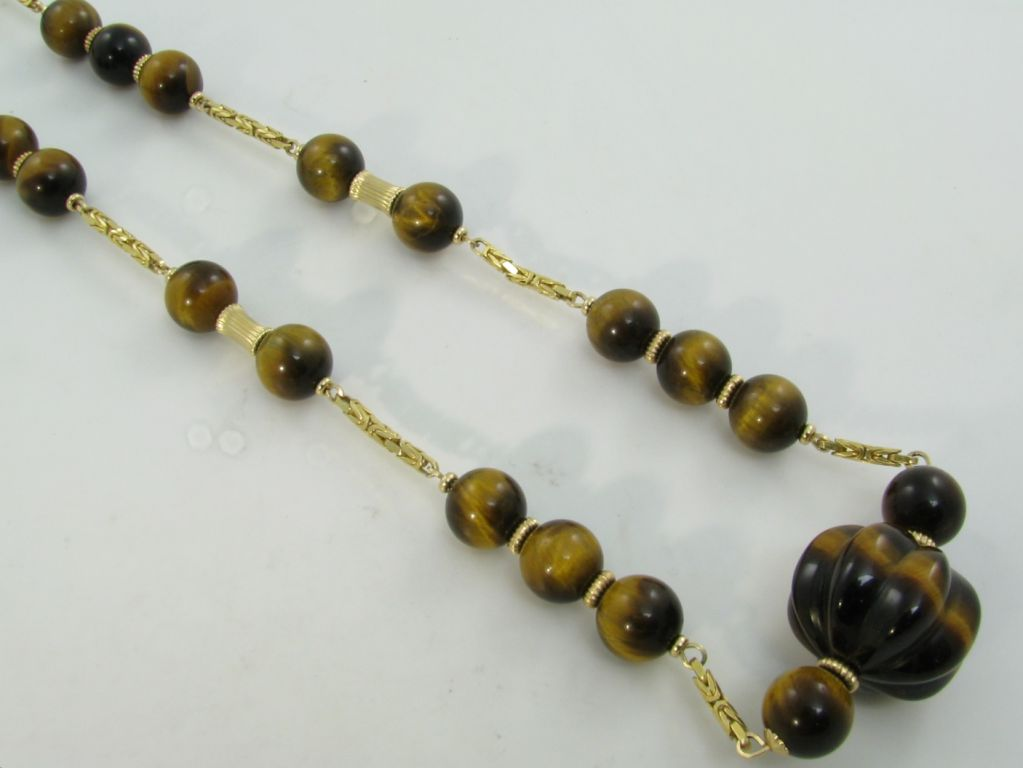 a stylish gold and tiger s eye bead necklace at 1stdibs