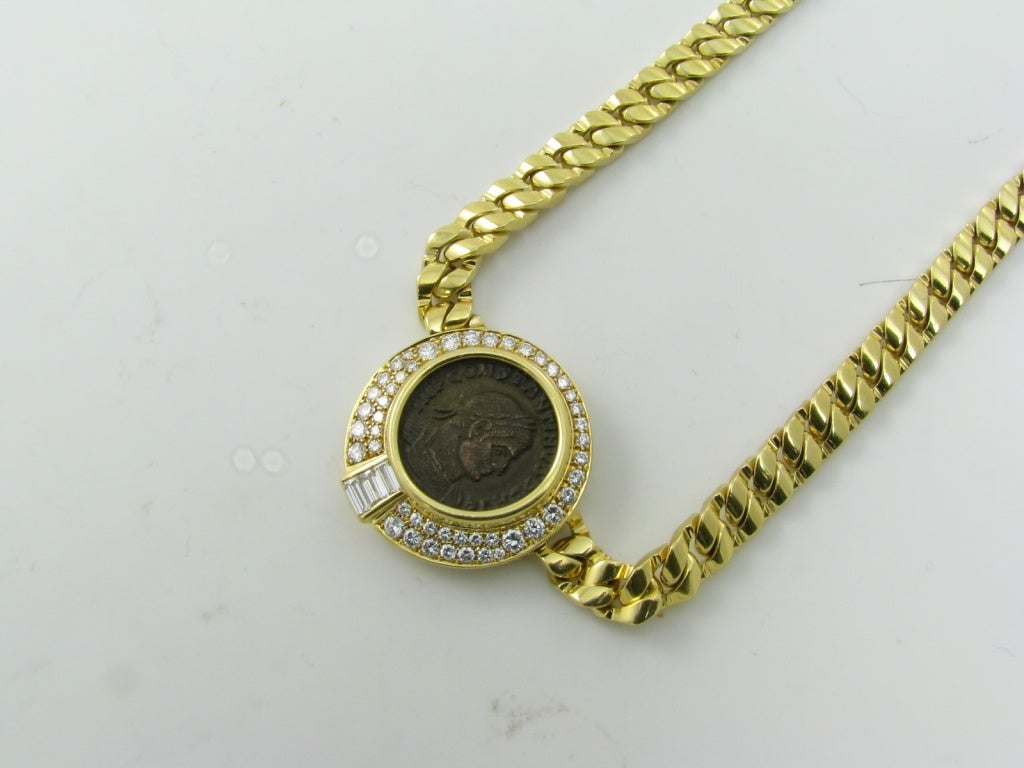 bulgari ancient coin necklace surrounded by diamonds at