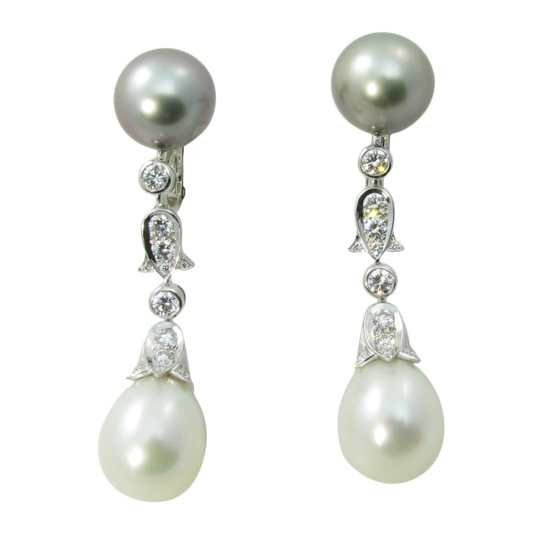 cartier france platinum diamond and pearl drop earrings