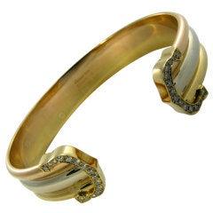 "CARTIER Classic Diamond and Tri Color Gold ""C"" Cuff Bracelet"