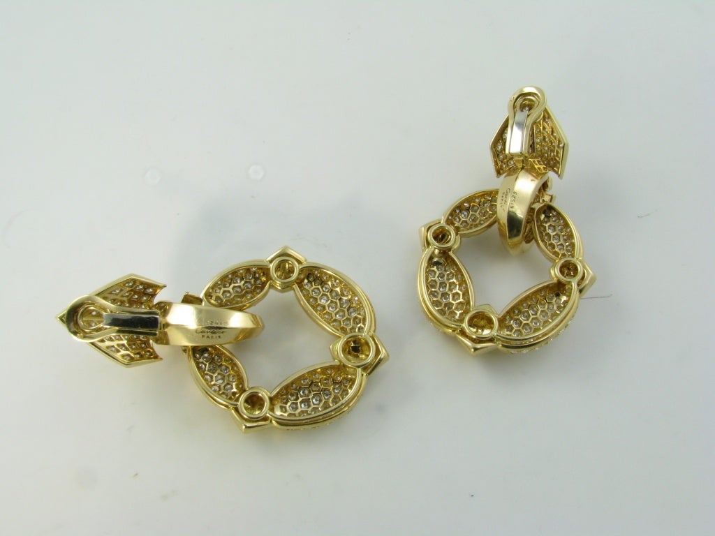CARTIER Fabulous Diamond Gold Door Knocker Earrings image 2