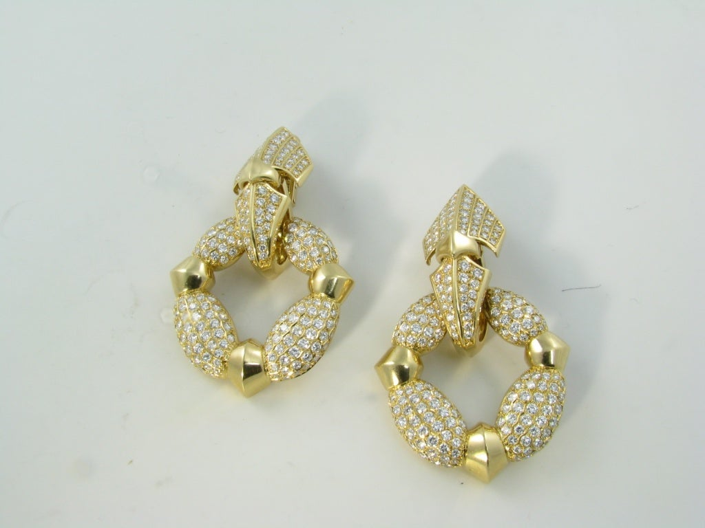 CARTIER Fabulous Diamond Gold Door Knocker Earrings image 3