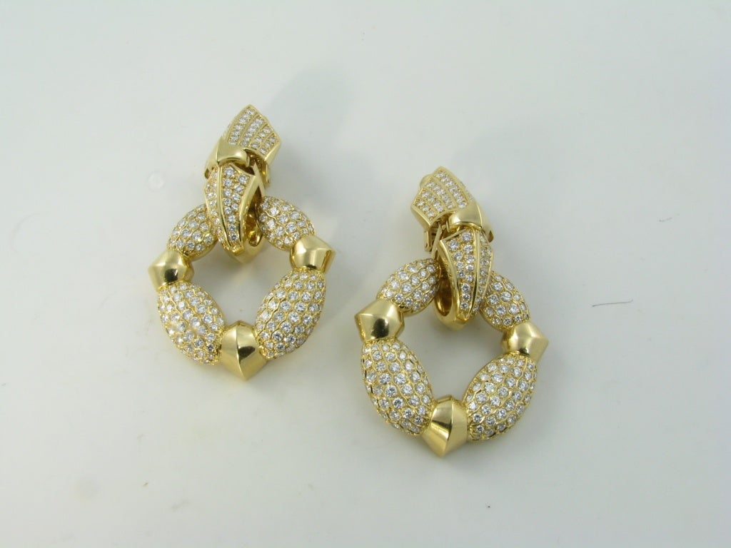 CARTIER Fabulous Diamond Gold Door Knocker Earrings image 4