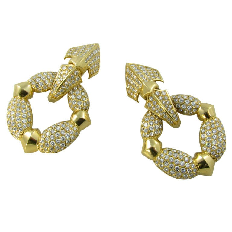 CARTIER Fabulous Diamond Gold Door Knocker Earrings