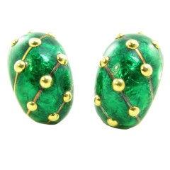 TIFFANY SCHLUMBERGER Classic Green Enamel Gold Earrings