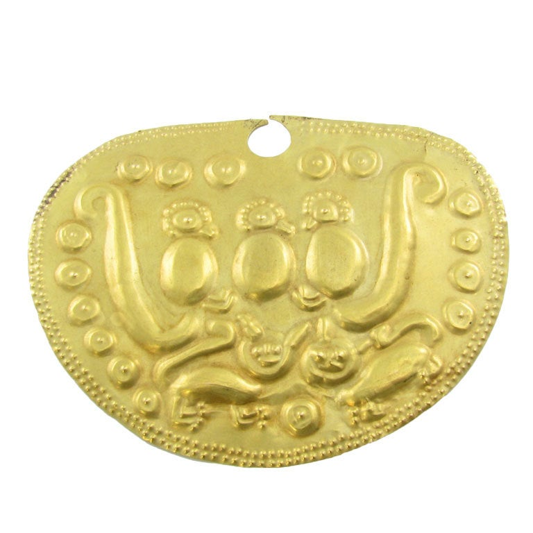 peruvian gold vicus medallion at 1stdibs
