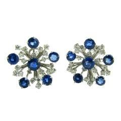 A Pair Of Sapphire & Diamond Snowflake Earrings Set In Platinum