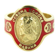 CARTIER Red Enamel and Gold Cigar Band Ring.
