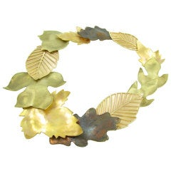 TIFFANY & CO. Patinated, Rose and Yellow  Gold Leaf Necklace.