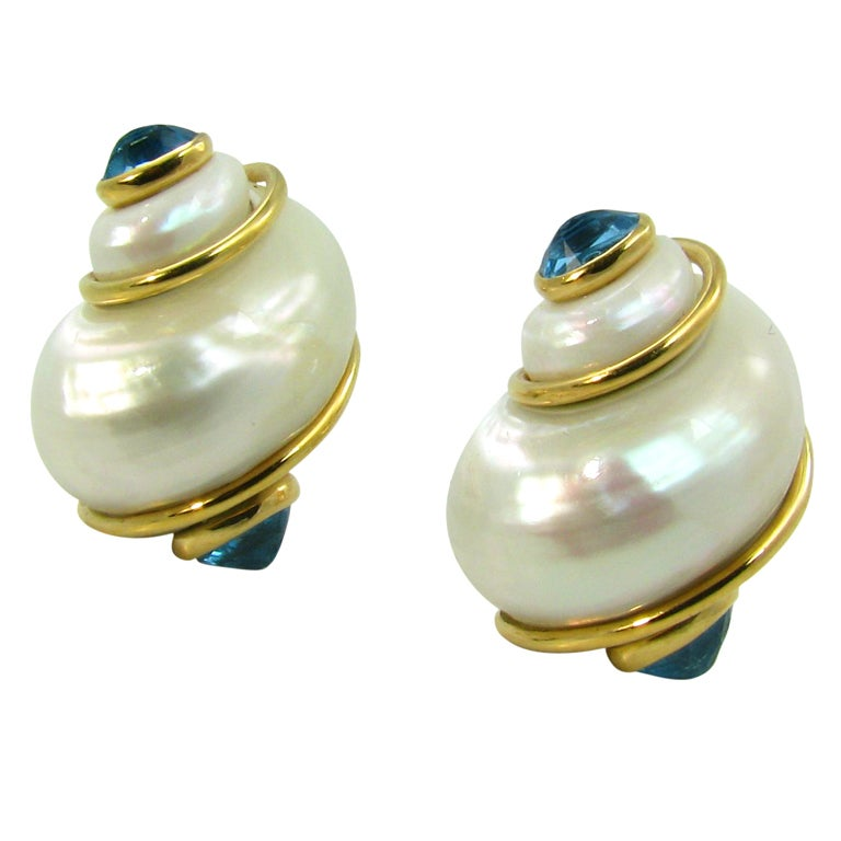seaman schepps aquamarine gold quot turbo shell quot earrings at