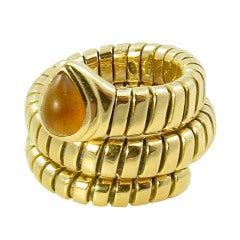BULGARI Fun Yellow Gold and Citrine Snake Ring