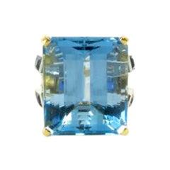 A Fabulous Aquamarine, Sapphire and Diamond Ring