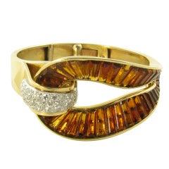 TRABERT & HOEFFER MAUBOUSSIN Rare Retro Citrine, Diamond and Gold Bracelet