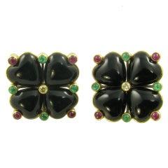 DEMNER Chic Onyx, Ruby, Emerald and Diamond Flower Earrings