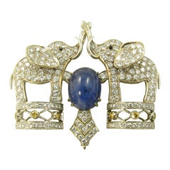 A Beautiful Cabochon Sapphire and Diamond Elephant Brooch