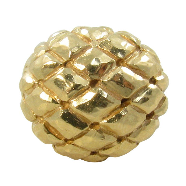 Dome Shaped Bands: DAVID WEBB Gold Dome Shaped Ring In A Trellis Pattern. At