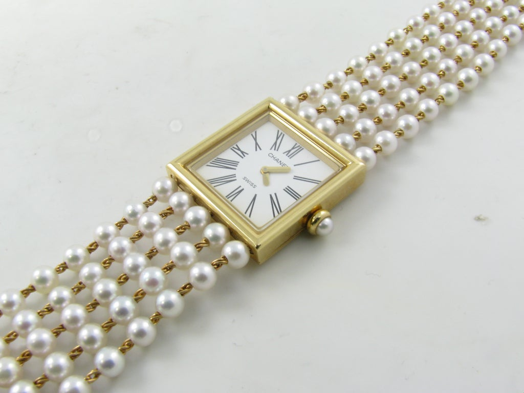 chanel s yellow gold and pearl bracelet at 1stdibs