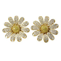 VAN CLEEF & ARPELS Fabulous Gold and Diamond Flower Earrings.