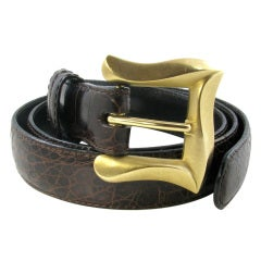 ANGELA CUMMINGS Chic Gold Buckle with Brown Crocodile Belt