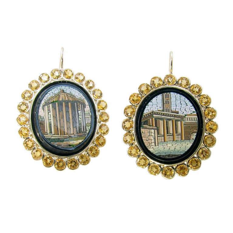 A Pair Of Yellow Gold Citrine And Antique Micro Mosaic
