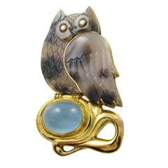 ELIZABETH GAGE Moss Agate, Aquamarine, Gold and Diamond Owl Brooch
