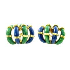 TIFFANY & CO., SCHLUMBERGER Enamel and Gold Earrings.