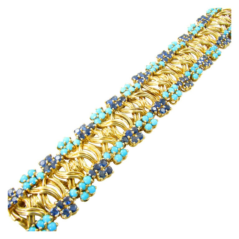 Tiffany And Co Turquoise Sapphire And Gold Bracelet At