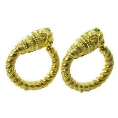 LALAOUNIS Yellow Gold Lion Head Hoop Earrings