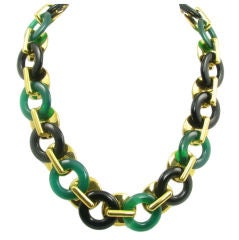 A stunning Cipullo gold, black and green onyx necklace